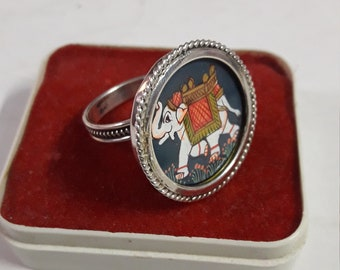 Handmade 92.5 Sterling Silver Glass Framed Royal Indian Elephant Beautiful  Miniature Painting Adjustable  Finger Ring
