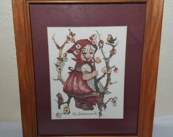 "Finished counted cross stitch ""Girl in a Apple Tree"" Framed/matted"