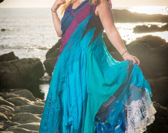 Custom-made brightly coloured wedding dress; ball gown; prom dress; special occasion dress; evening dress. Bohemian, gypsy, fairy, goddess