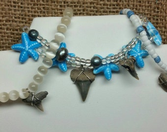 Starfish Fossil Shark Tooth & Freshwater Pearl Stretch Bracelet Set