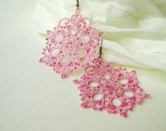 Valentine's perfect gift Pink earrings Lightweight earrings Big filigree earrings Boho chic Delicate bohemian earrings Tatted lace earrings