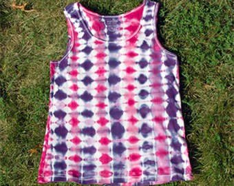 Pink and Purple Tie-Dyed Ribbed Tank Top for Women