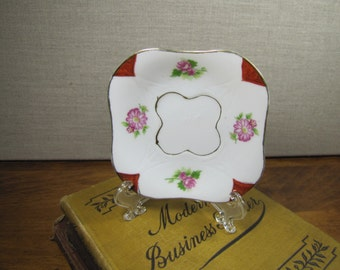 Vintage Rounded Square Small Plate - Pink Flowers - Red Corners - Gold Accent - made in Occupied Japan