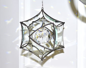 Large Beveled Glass Concave Orb with 50mm Crystal Ball