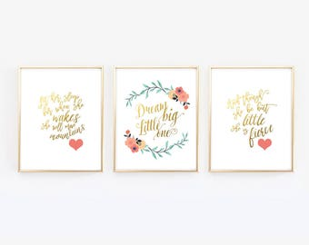 Dream Big Little One - She is fierce  - Let her sleep - Navy Coral Gold - Nursery Prints - Floral Nursery - though she be but one