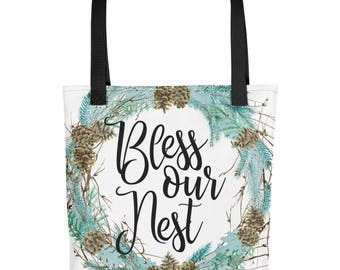 Bless Our Nest Easter Tote Easter Bag Easter Totebag Easter Tote Bag Spring Tote Spring Bag Spring Totebag Spring Tote Bag