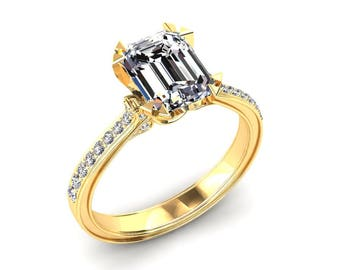 Moissanite Ring 1.60 Carat Forever One Emerald Cut Moissanite Engagement Ring 14k or 18k Yellow Gold Matching Wedding Band Available W13MOIY