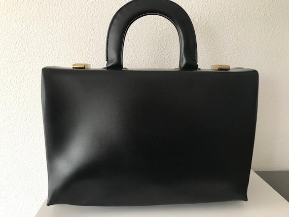 Vintage black handbag   vintage beautycase   leatherette handbag   vintage handbag   black beautycase