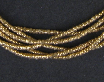 450 Brass Heishi Ethiopian Beads 2mm - Brass African Beads - Made in Ethiopia ** (MET-HSHI-BRS-253)