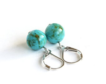 Genuine Turquoise Earrings Kingman Turquoise Beads Sterling Silver Leverback Light Blue Natural Stone Southwest Turquoise #18638
