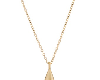 14K Gold Necklace, Solid Gold Teardrop Necklace, gift for her