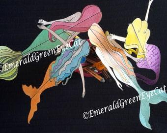 Digital Mermaid Templates  Mermaid Pencil Decor  Hand Drawn Mermaid Coloring Pages  Party Decoration  Craft Supply
