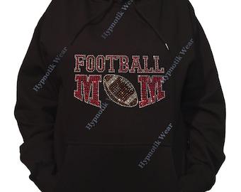 "Rhinestone Women's Pullover Hoodie "" Red Football Mom "" Sweatshirt Sm to 3X"