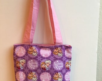 Frozen Sisters Tote with inside pocket,with Corduroy Material
