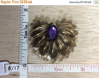 10%OFF3DAYSALE Vintage Brass Toned Purple Stone Leafy Pin Brooch Used