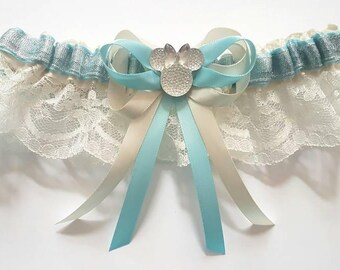 Minnie Inspired Something Blue Bridal White or Ivory Satin/Satin and Lace/Garter Set