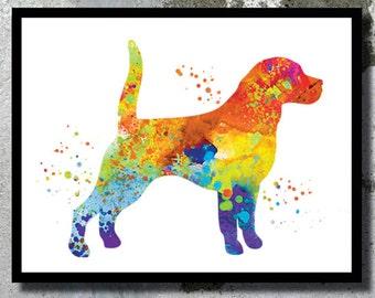 Dog print Beagle Watercolor Art Print Dog painting Beagle poster Watercolor painting Dog poster Girl Boy room Nursery wall art Child gift