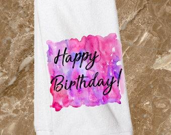 Happy Birthday towel/watercolor birthday/kitchen towel/birthday gift/birthday present/housewarming gift/bridal shower/fun kitchen towels