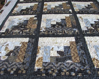LOG CABIN, NEUTRAL, Twin Size Quilt