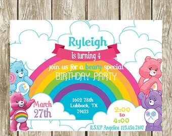 Care bears birthday invitation care bears birthday party invitation digital printable baby shower filmwisefo
