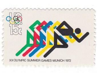 10 Unused Vintage US Postage Stamps - 1972 15c Olympic Games - Running - Item No. 1462