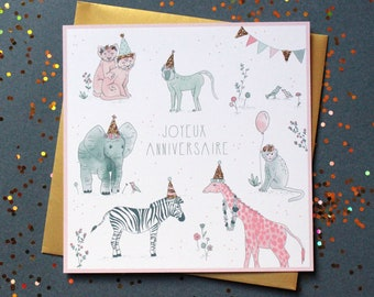 Animal birthday for kids with card