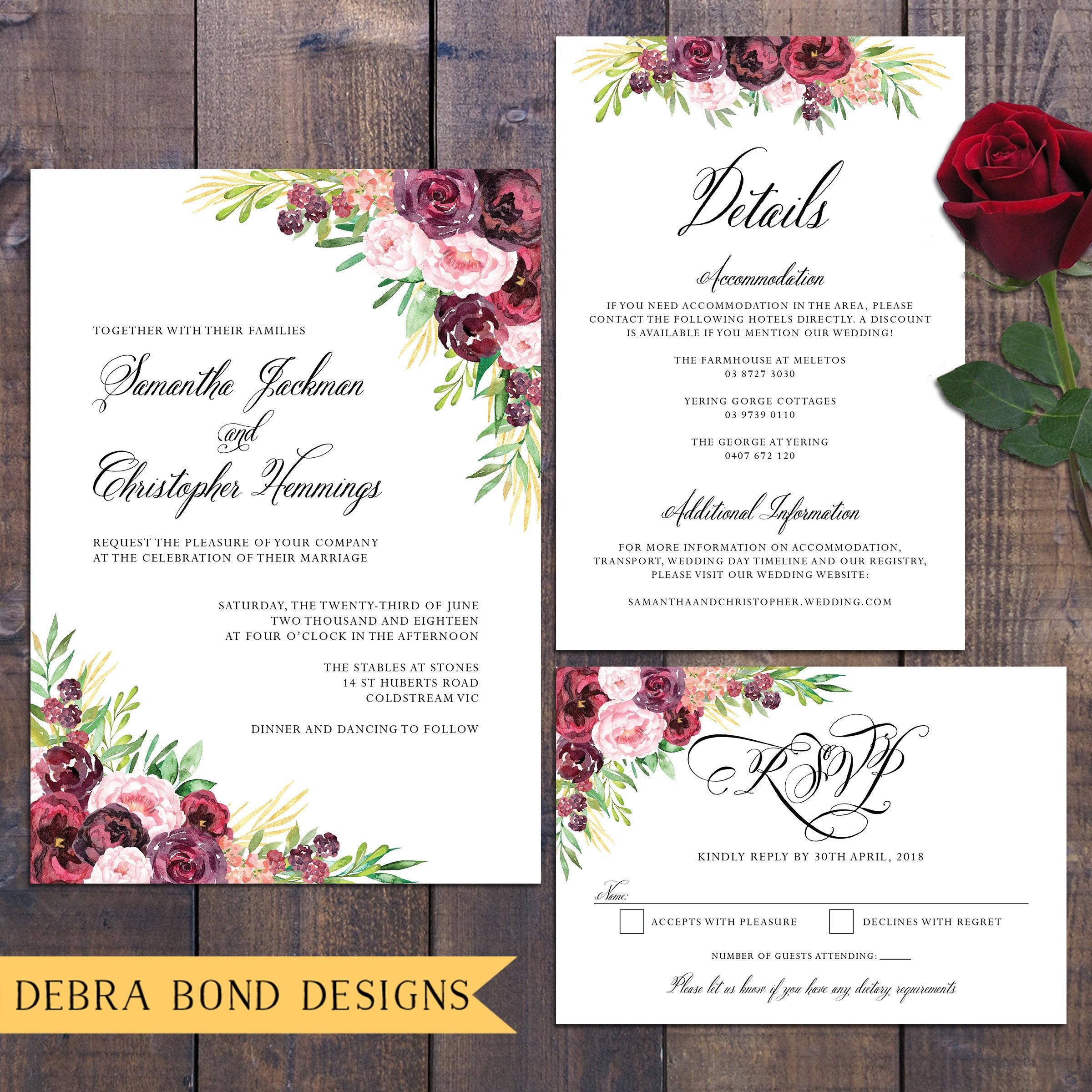 Wedding suite, wedding invitation, marsala burgundy dark roses ...