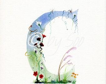 Letter C Watercolour Monogram Print