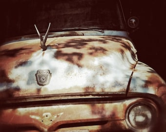 Old Ford Truck Photography, Antique Car Photography, Blue Ford Truck Art