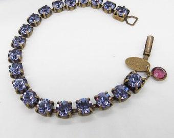 Liz Palacios vintage amethyst Swarovski rhinestone antiqued brass signed tennis bracelet FREE SHIPPING !