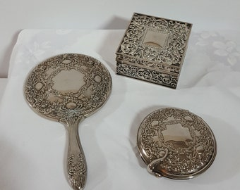 Vanity Dresser Set, Hand Mirror, Compact, Trinket Ring Box, Silverplate, Floral and Scroll Embossed, Vintage Collectible
