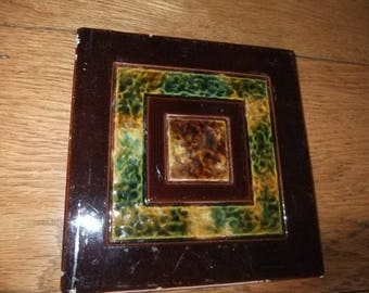 Victorian Majolica Ceramic Tile Circa 1800 probably from a Staffordshire factory