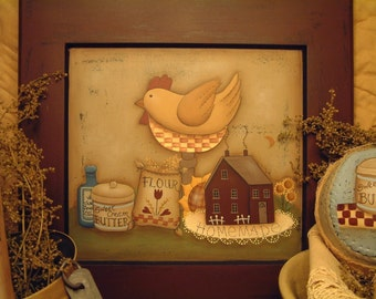 Primitive E Pattern Country Kitchen Folk Art Chicken Baking  Painting With Friends Terrye French Instant Download