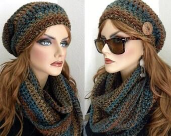 Ensemble de bonnet, Tuque, Infinity Infinity écharpe, sud-ouest couleurs femme, accessoires automne/hiver pour femmes