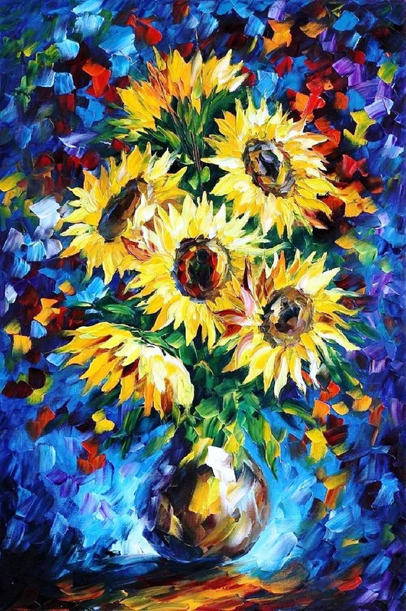 Flowers Wall Art Floral Oil Painting On Canvas By Leonid