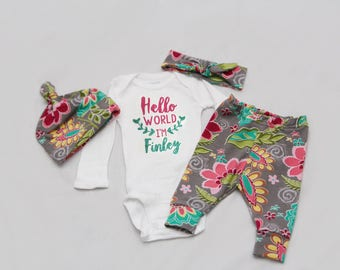 Hello world, Newborn Coming Home Outfit, baby girl coming home outfit, baby shower gift,- Jersey knit Leggings, Knot Hat, headband and Shirt