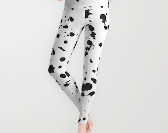 Black and White Leggings - Paint Splatter Leggings - Yoga Leggings - Black and White Tights - Yoga Wear - Gym Wear - Workout Wear -