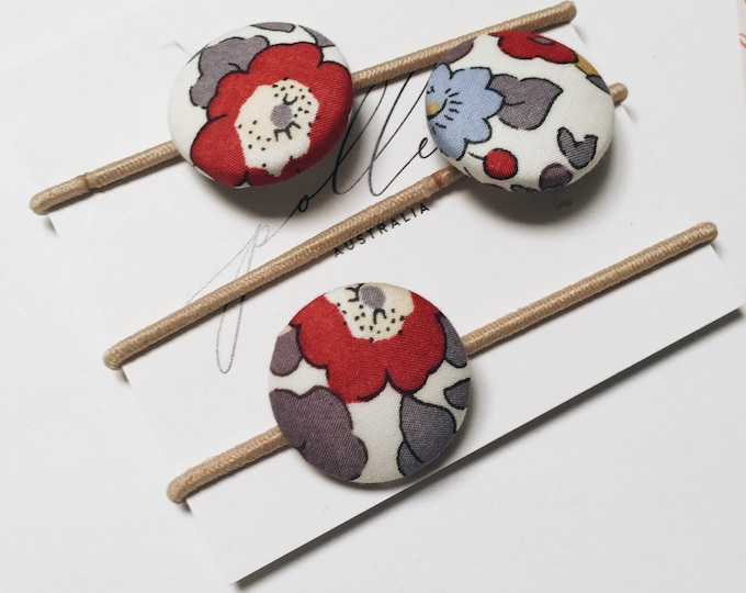 LIBERTY BUTTON Hair-ties Constructed from Liberty Art Cotton Tana Lawn set of three (3) Betsy Pierre de Lune