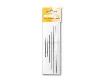 Beading Big Eye Needles, one pack of six assorted size needles / BeadSmith, Large Hole, Needle, Findings, Sewing, NeedleCraft, Supply