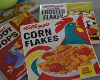 Ceramic Tile Coasters - Vintage Kellogs Cereal Box