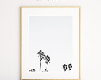 Palm Tree Print, Tropical Wall Art, Beach House Decor, Black and White Prints, Palm Tree Photo, Minimalist Poster, Printable Wall Art