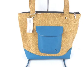 Cork and petrol blue shoulder bag