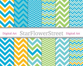 Chevron Digital Scrapbook Paper Background - bright blue green colors large turquoise lime yellow photography boy 8.5x11