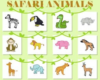 Machine Embroidery Designs - Safari Animals Collection of 12