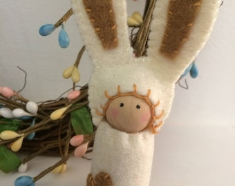 Caramel Easter Bunny Peg Doll Gnome