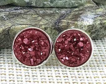 Merlot Druzy Earrings - Drusy - Stud Earrings - Bridesmaid Gift - Burgundy - Earrings - Druzy - Bridesmaid Jewelry - Gift - Maroon - Earring