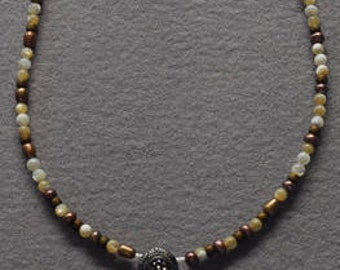 """17"""" Freshwater Pearls,  White & Bronze Necklace with Vintage Button Pendant"""