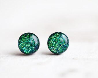 Green Glitter stud earrings, Green stud earrings, Tiny stud earrings, Green Glitter earrings, Tiny galaxies earrings, Galaxy stud earrings