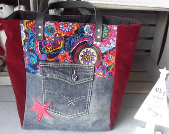 Tote bag combining new and recycled