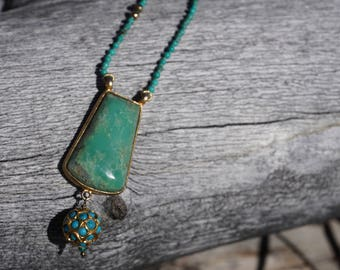 Hand made Turquoise chain and Chrysoprase pendant with a ball of gold plated silver and turquoise